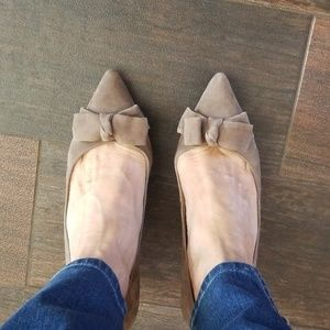 Gorgeous and versatile taupe suede 2 inch pumps
